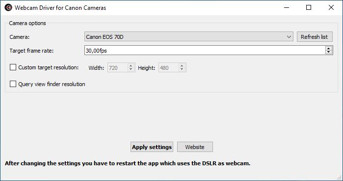Webcam driver for Canon DSLR